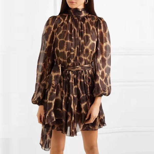2019 Printemps Nouvelle Arrivée Haute Qualité Femmes Dress Motif Léopard Mini Robe À Manches Longues Maille Robes Noires avec Un Arc Mince Robe