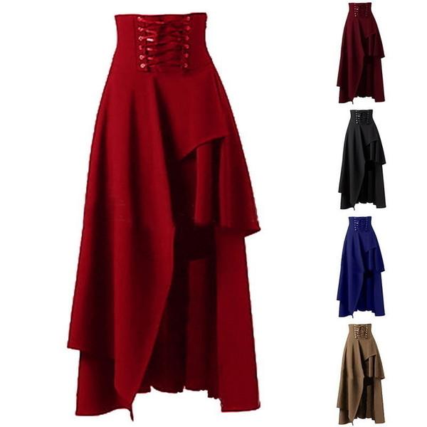 New S-2xl Lolita Patchwork Long Skirt Women Irregular High Waist Skirt Lace-up Design Pure Color Female Steampunk Party Skirts J190507