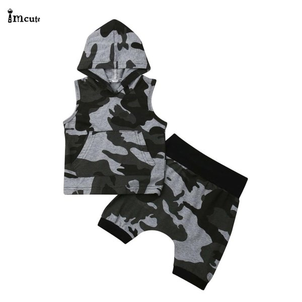 Newborn Infant Toddler Kids Baby Boys Cool Sleeveless Hooded Tops T-shirt Camo Hip-Hop Pants Shorts 2PCS Outfits Set Clothes