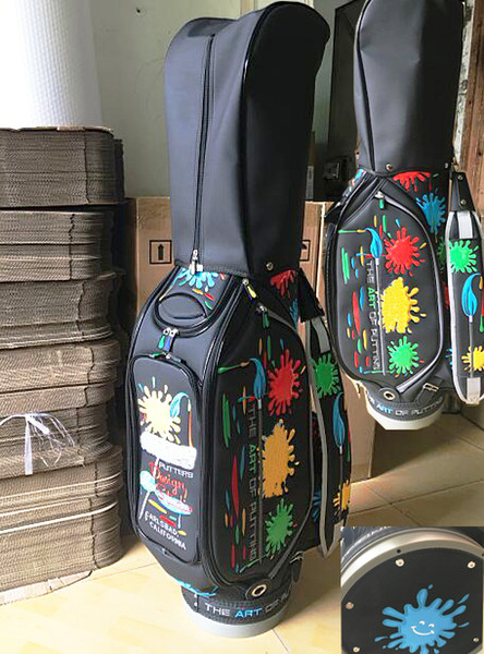 best selling New Model Black Paint Splash Top Quality PU Golf Bag Cart Bag Actual Pictures Contact Seller