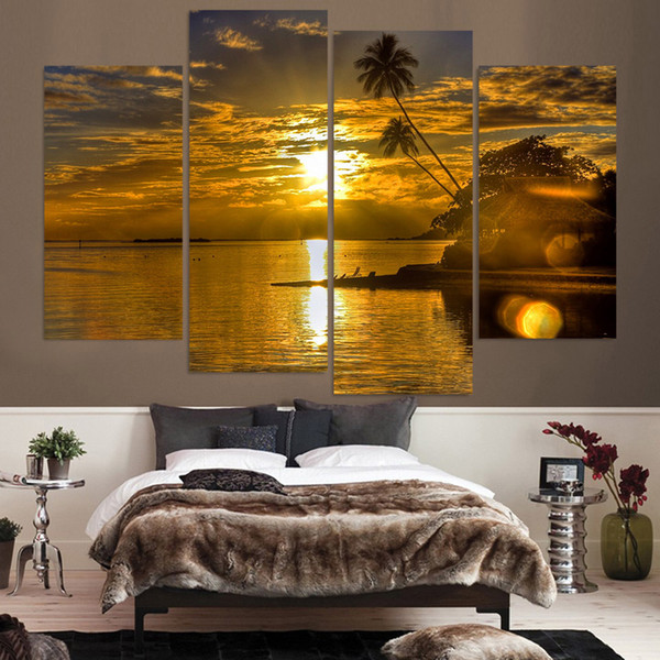 Modular Frame Wall Art Poster Painting 4 Pieces/Pcs Sunset Coconut Sea View HD Print Canvas Popular Picture For Living Room Decor