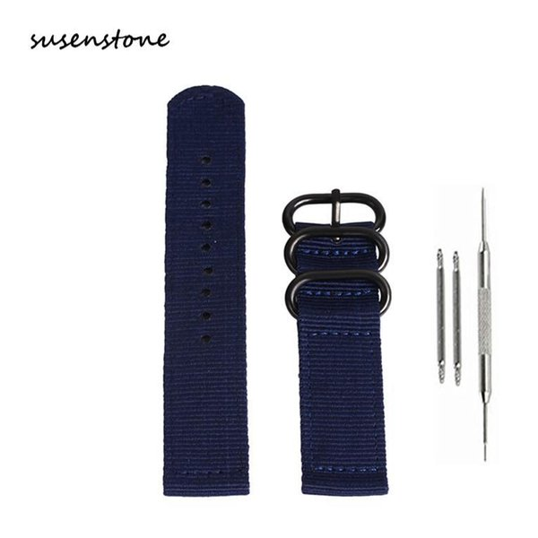 Susenstone 20mm-24mm Watch Band Fashion Nylon Wrist Band Strap For Quartz Watch Belt Stainless Steel Buckle /PY