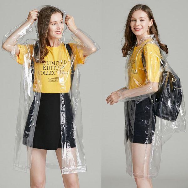 women transparent Rain coat Adult fashion Raincoat jackets Fashion clear Hooded Impermeable Outdoor tTravel long Raincoats