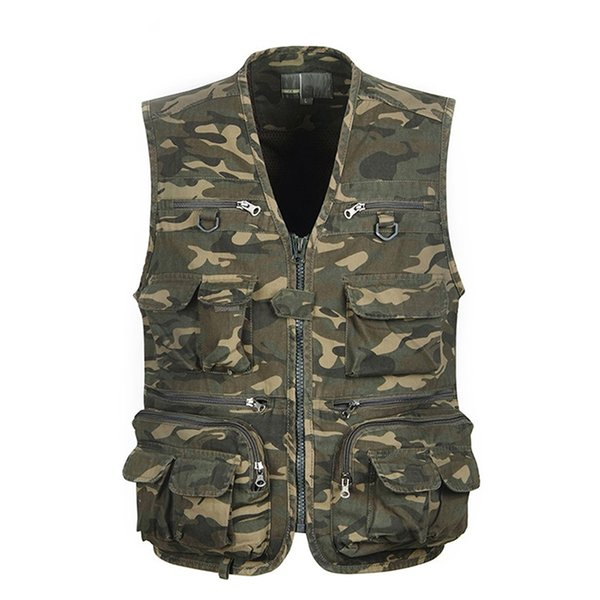 1pcs men camouflage fishing hunting vest cargo outdoor game outwear waistcoat multi-pocket pgraphy recreational fishing vest thumbnail
