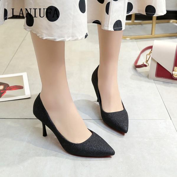 ae6e9aa2f08 Zapatos de vestir de diseñador Nuevas mujeres Slip-on Pumps Tacones  delgados Sandalias Primavera Otoño