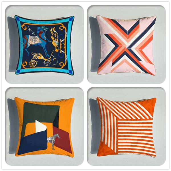 top popular European Animal Geometry Pattern Cushion Cover Double Side Printing Velvet Cushion Case Home Decorative Sofa Pillowcase 45*45CM 2021
