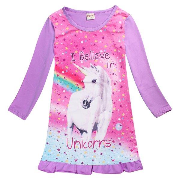 Niñas bebés Unicornio Vestido de Manga Larga Niños Princesa Vestido Animal Patrón para Niños Dormir Camisón pijamas ropa de dormir Vestidos