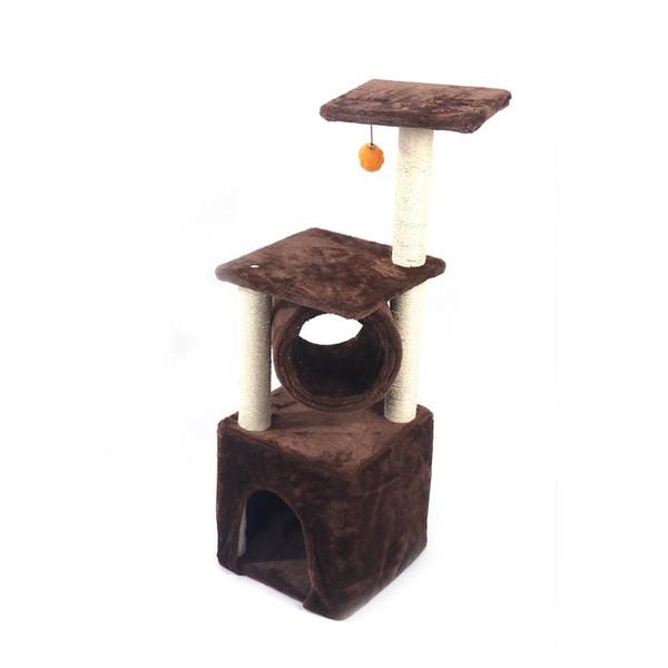 """36"""" Sisal Hemp Cat Tree Brown Furniture Kitten Pet House Pet Home Bed US Free shipping"""