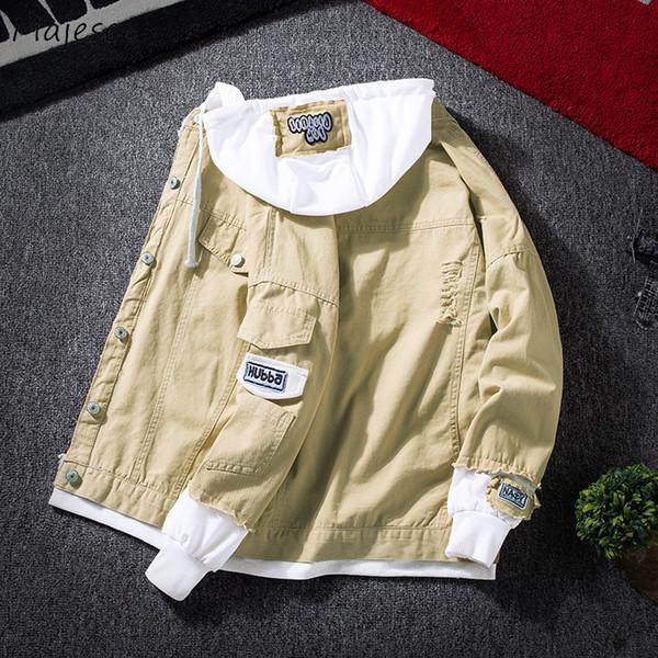 Chaquetas Hombre Otoño Con Capucha Un Solo Pecho Delgado Todo-fósforo Chaqueta de estilo Coreano Para Hombre Diseños de parches Harajuku Trendy Denim Overcoats