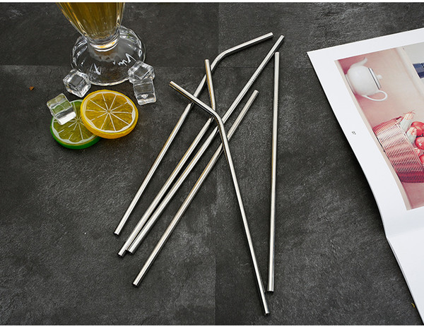 6*215mm 304 Stainless Steel Straw Bent And Straight Reusable Colorful Straw Drinking Straws Metal Straw Cleaner Brush Bar Drinking Tool 23RE