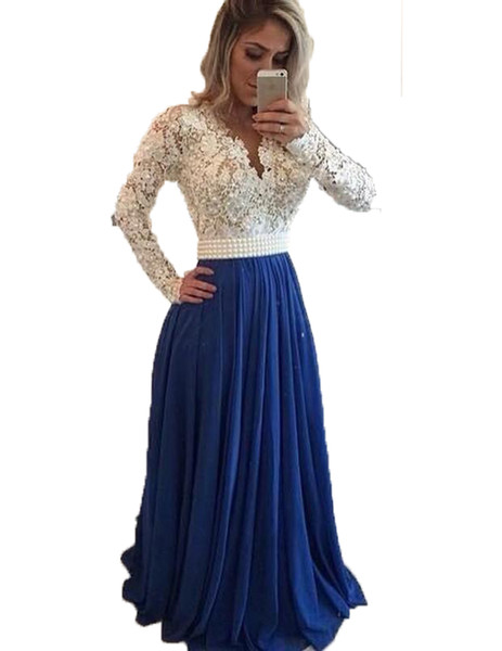 top popular Hot 2020 Prom Dresses Long Sleeves Lace Pearl Beaded Blue Evening Dresses A Line Formal Party Dress Long Evening Cheap Pageant Gowns 2020