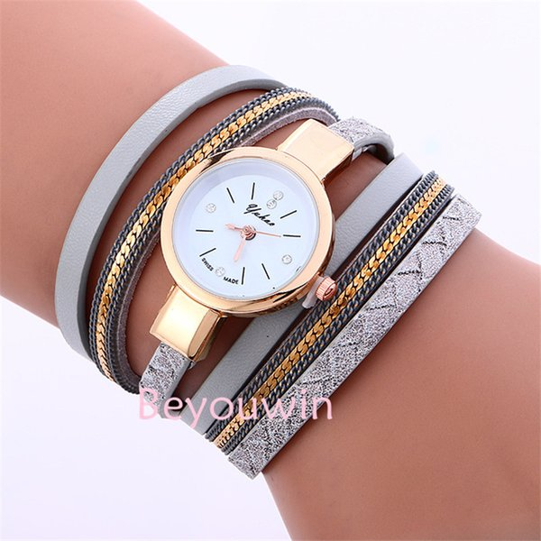 100pcs/lot fashion lady wrap around leather watch elegance women special chain no crystal bracelet watch for girl wholesale