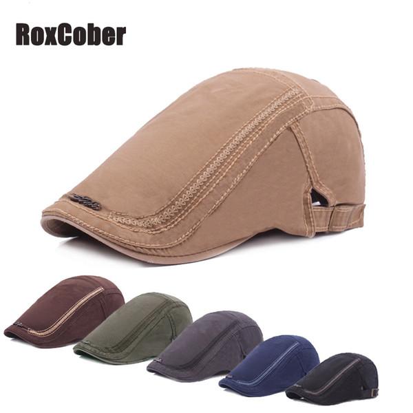 RoxCober Mens Womens Newsboy Vintage Caps Ivy Golf Driving Sun planas Cabbie algodão Gatsby Hats algodão Boinas ajustáveis