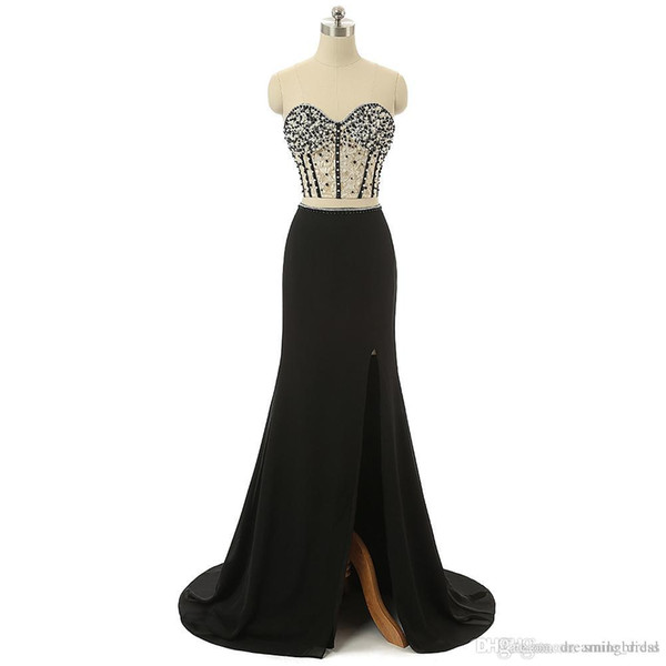 Black Dress 2017 Mermaid Two Piece Evening Gowns Beads Pearls Lace Side Splt Floor Length Cheap Prom Dresses JMC007