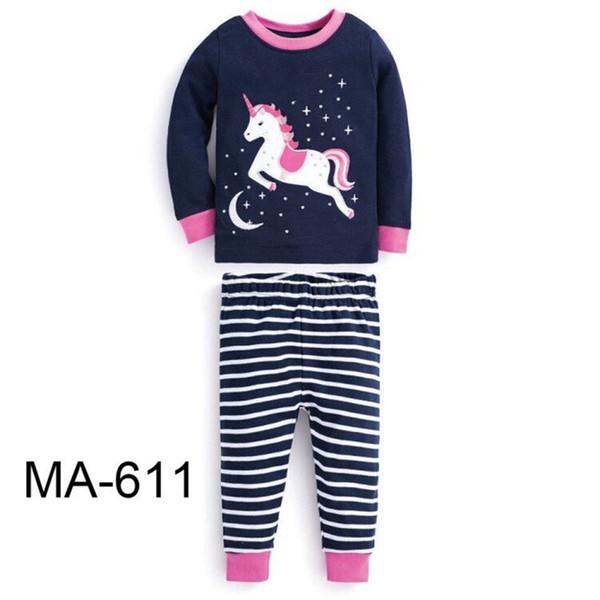 Next Christmas Pyjamas 2019.Wholesale Girls Navy Blue Unicorn Pajamas Sets 2019 Kids Cartoon Pajamas Children Spring Pyjamas Sets For 2 7y Ma 611 Christmas Pyjamas Boys Girls