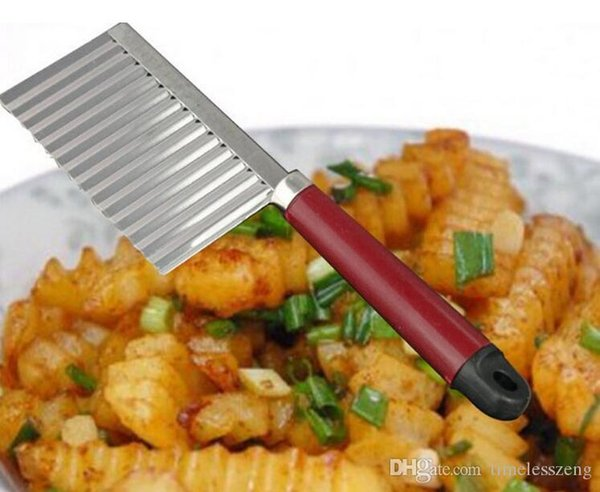 Kitchen Multifunctional stainless steel wave knife potato cut shredder 6*22cm safe vegetable slicer fruit decoration tool