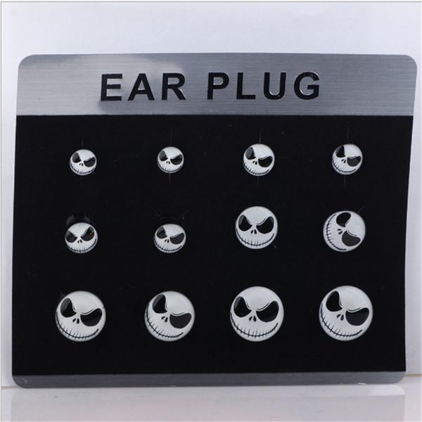 6 par / Set Mujeres Hombres Ear Plug Túnel Moda Cráneo Oído Túnel Calibrador Camilla Punk Expander Body Piercing Joyería Envío Gratis