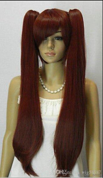 WIG free shipping Split Type Dark Burgundy Long Straight Cosplay Lolita Lori Wig Ponytail