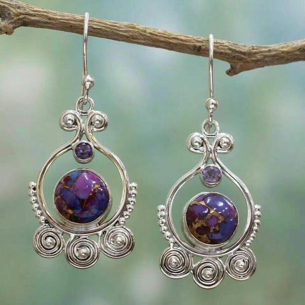 New Fashion Antique Silver Filigree Amethyst Turquoise Earring Drop Purple Semi-precious Stone Hook Dangle Earrings Ear Jewelry Wholesale