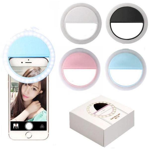 Kamera Schönheit füllen linse lampe LED USB wiederaufladbare runde Licht Clips Neuheit Artikel foto tools farbe heißer verkauf