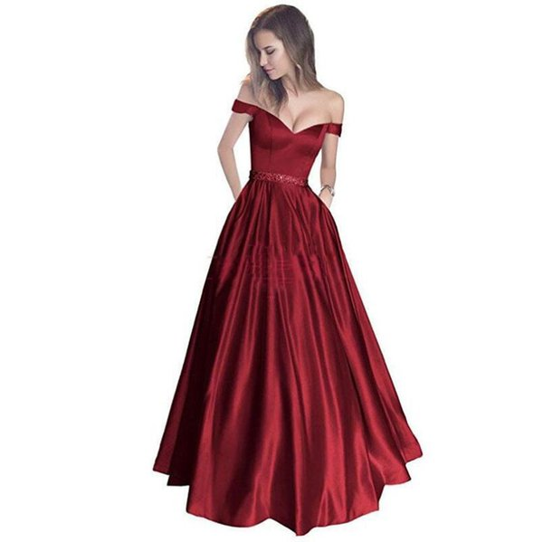 2019 New Long A Line Evening Dresses With Off The Shoulder Beading Women Elegant Evening Party Gowns