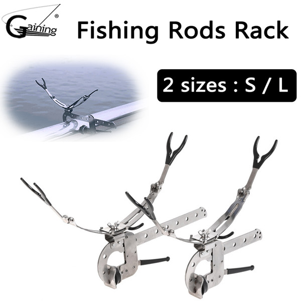 Fishing Pole Rod Holder Adjustable Folding Support Stand Bracket with Stainless Steel Universal Clamp-On Boat Deck Mount 2 Sizes