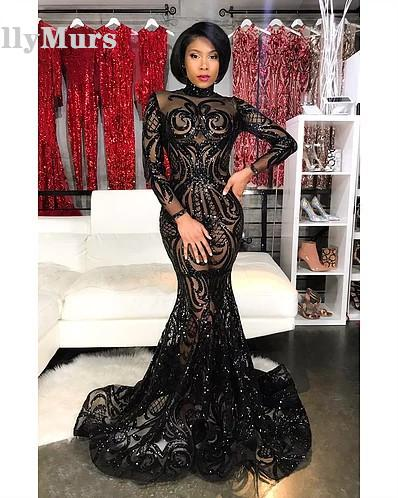 Long Prom Dresses 2019 Sexy Mermaid Style Halter Black Sequin African Black Girl Women Prom Dress