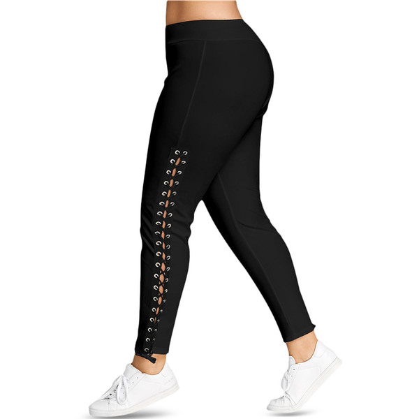 Rosegal Plus Lace Up Grommet Skinny Leggins Women Pencil Pants Trouser Black White Leggings Big Size 5xl Q190510