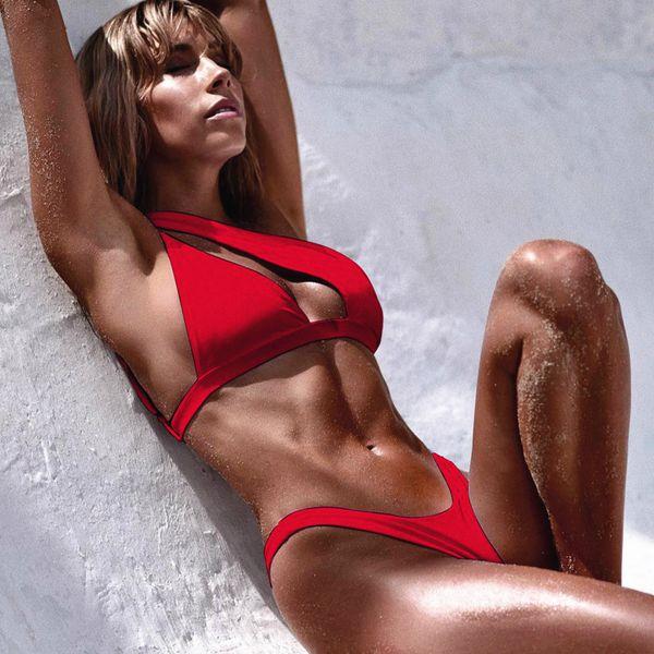 Bikinis 2019 Mujer Biquini Chopped Un hombro empuja hacia arriba atractivo del bikini tanga rojo del traje de baño femenino puede Badpak Majored Tankini Mulh