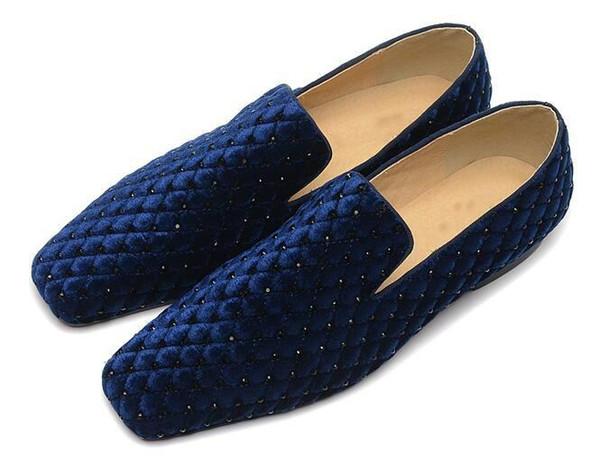Mens Designer de Rebite Sapatos de Strass Homens Mocassins Sapatos Mocassins Homens Vestido de Festa Sapato Vermelho Fundo Vestido Sapatos de Negócios Flats Tamanho 38-47 Mocassins