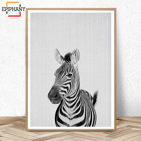 Zebra Print Nursery Animal Wall Art Canvas Painting Anime Posters Modern Wall Painting Black and White Pictures for Kids Room