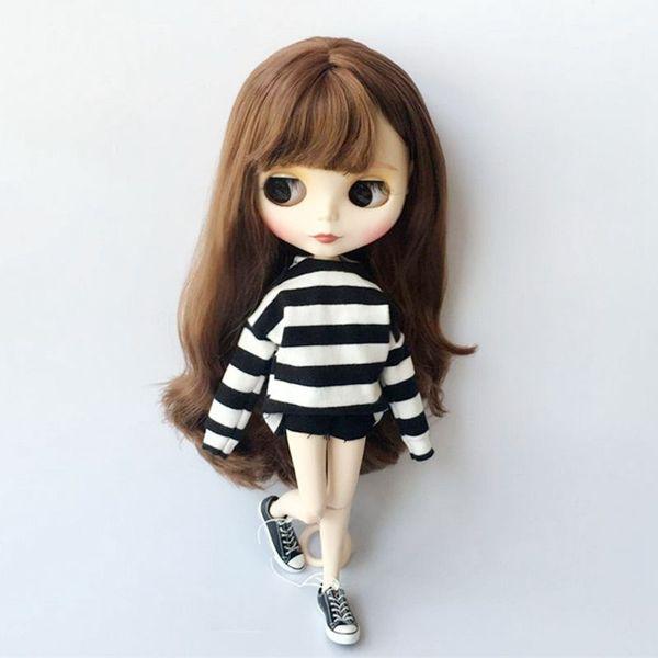 2pcs/set Blyth Clothes Striped T-shirt+ jeans 1/6 Fashion Doll pants pullip ob24 ob27 Doll Clothing Accessories for Barbie
