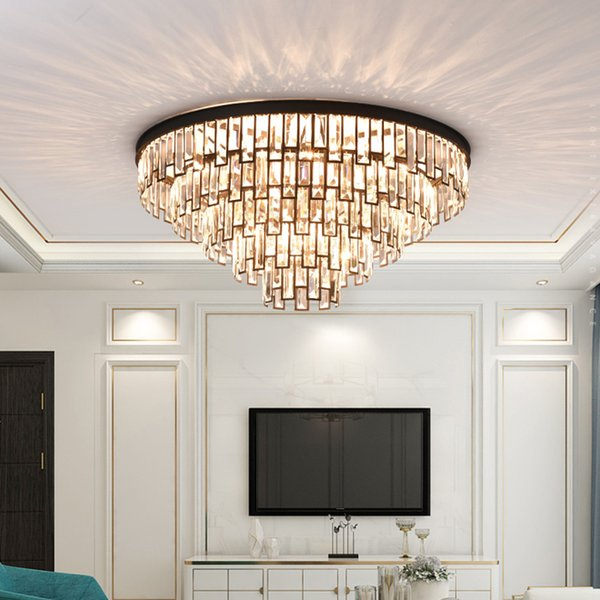 New Modern Crystal Round Black Ceiling Chandelier Lights Luxury Gold  Chandeliers Lamp Glod Led Ceiling Lighting For Living Room Bedroom Ceiling  ...