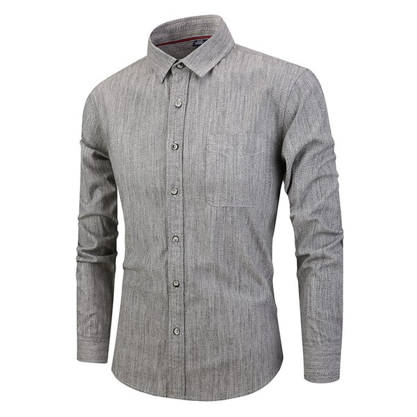 Feitong Hommes Chemise Mode Hommes Social Tops Casual Chemises Slim Chemise À Manches Longues Hommes Solide Chemises Top Blouse Camisa Masculina