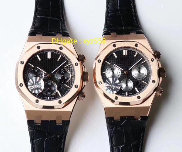Rose Gold Luxury Assista 7750 Relógio De Pulso Automático 12 H Cronógrafo Pulseira De Couro Borboleta fivela Diâmetro 41mm Estilo Do Esporte Mens Relógios