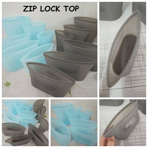 Reusable Silicone Food Preservation Bag Airtight Seal Food Storage Container Versatile Silicone Bag ZIP LOCK TOP Baby Feeding CCA11772 20set