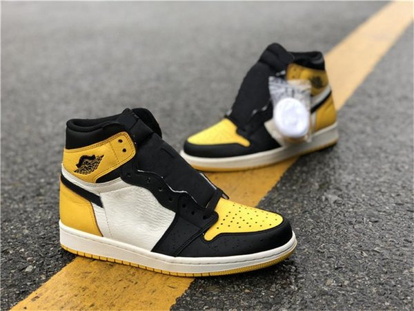 2018 Release Originals 1 Retro High OG NRG Yellow Toe 1S Basketball Shoes For Man Authentic Sports Sneakers With Box AR1020-700