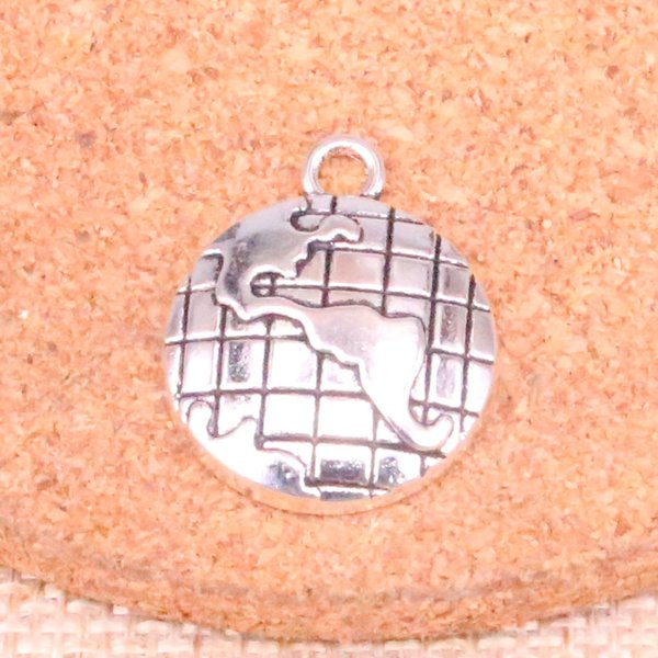 70pcs Charms earth globe Antique Silver Plated Pendants Fit Jewelry Making Findings Accessories 24*20mm