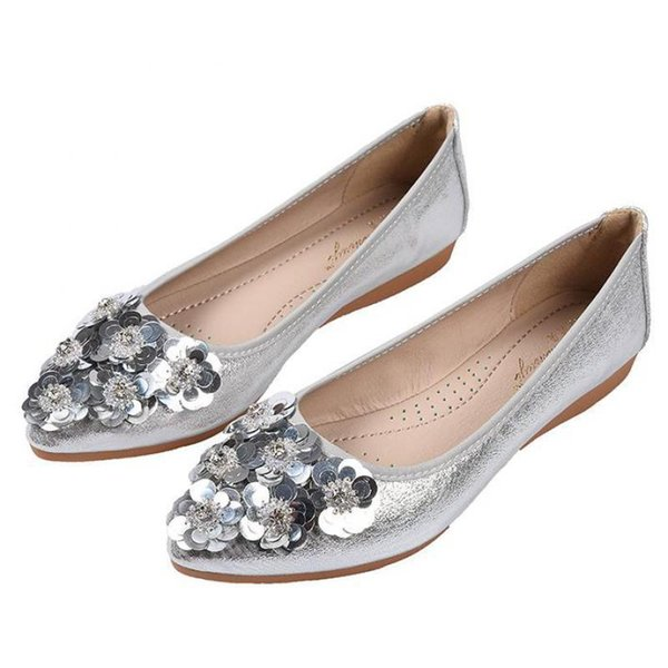 Women Gold Silver Sequined Shallow Single Shoes Flower Crystal Pointed Toe Wedding Shoes Flat Slip-on Soft Sole Casual Loafers