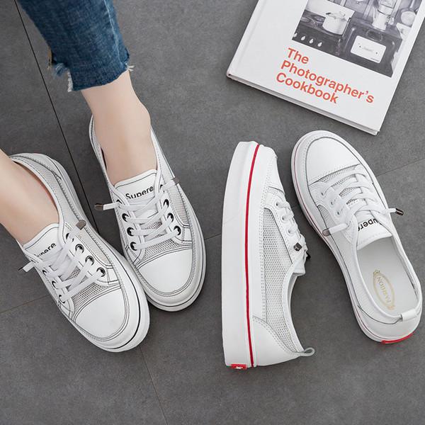 2019 yaz yeni nefes beyaz ayakkabı kadın örgü rahat koşu ayakkabıları temelleri öğrencileri Koreli bayan ayakkabıları