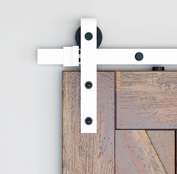 best selling DIYHD 5ft 6ft 8ft Rustic White Sliding Barn Door Hardware Modern Barn Wood Door Hanging Track Kit