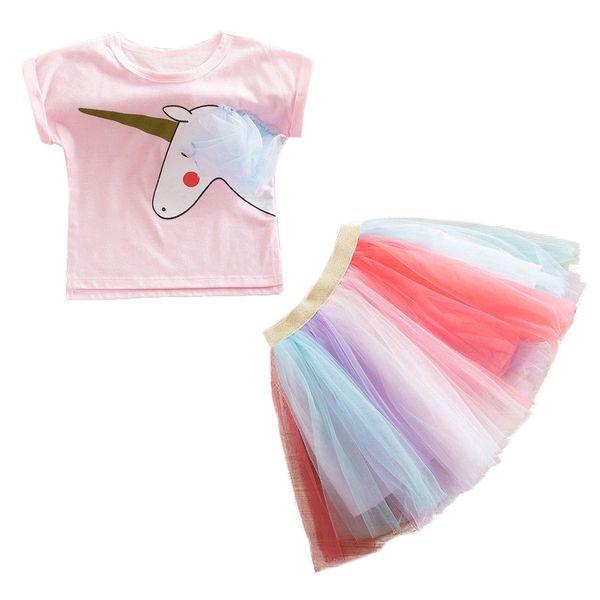Fashion Children Set Baby Girls Clothes Fancy Rainbow tutu Dress + Unicorn Print T-Shirt 2pcs Easter 2019 Girls Summer Outfits