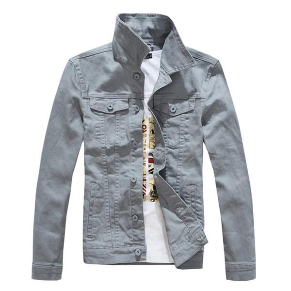Denim Jackets Men Solid Color Jeans Jacket Slim Fit Denim Coat 2018 Fashion Military Jacket Yellow Black Green White Top for Men SH190905