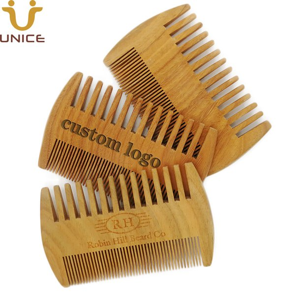 MOQ 50 pcs Good Quality Green Sandalwood Combs Double Sided Beard Comb Head / Facial Hair Comb for Man Verawood Wood Comb Custom LOGO