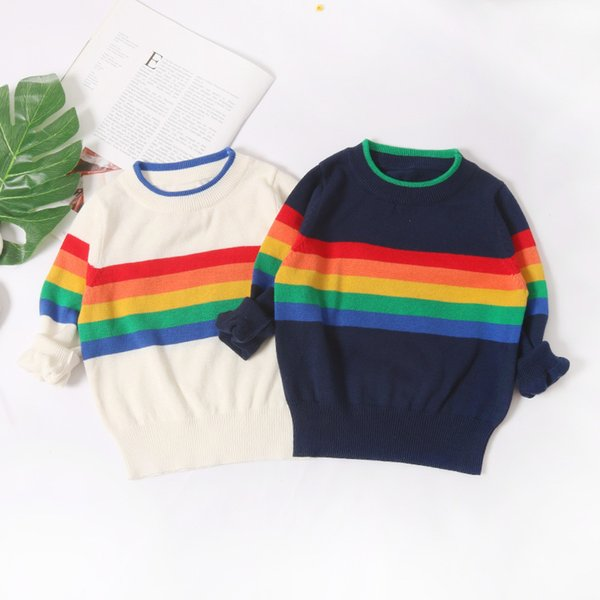 Autumn Baby Knitted Sweater Coat Baby Girl Long-sleeve Rainbow Striped Sweaters Infant Boys Casual Cotton Clothes Baby Cardigan