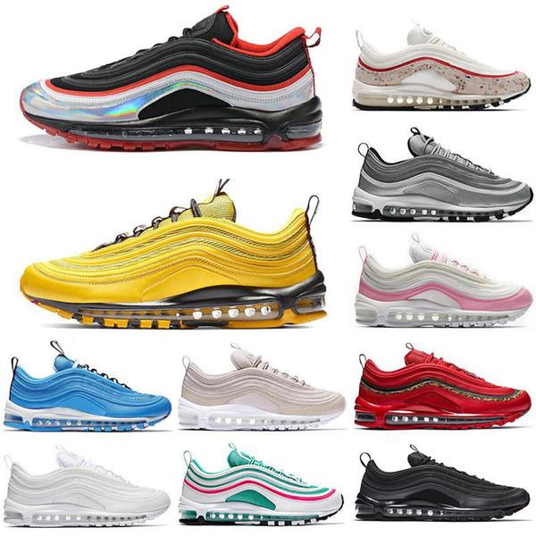 Max 97 97s Hommes Chaussures De Course Balck Métallique Or South Beach PRM Jaune Triple Blanc 97s Designer Femmes Sports Sneakers US 5.5-11
