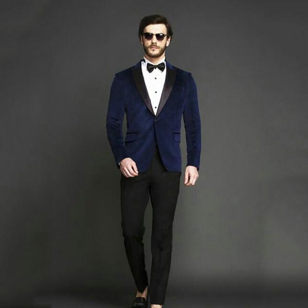Royal Blue Velvet Smoking Jacket Men Suits for Wedding Groom Tuxedos Man Blazer 2Piece(Coat+Pants)Costume Homme Prom Party Black Peak Lapel