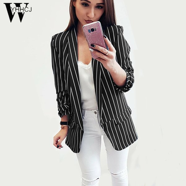 WYHHCJ 2018 Autumn Ladies Blazer Long Sleeve Blaser Women Suit jacket Female Feminine Blazer Femme White Black Striped