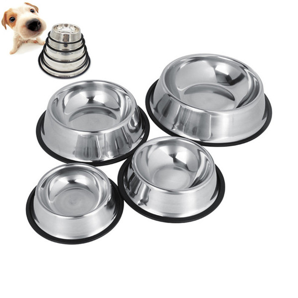 best selling Pet Dog Cat Bowl Puppy Kitten Stainless Steel Bowl Anti Slip Cats Puppy Travel Feeding Feeder Food and Water Dish Bowl Pet Bowls DLH142