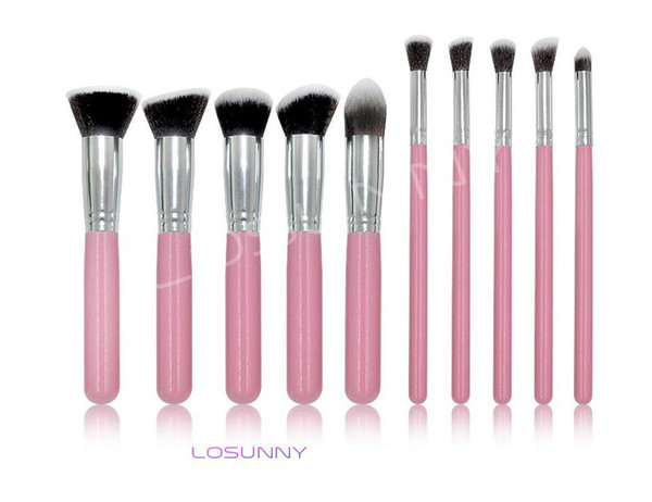 LOSUNNY 10 Pcs Wooden Handles Five Big Five Small Makeup Brush Set Eye Brush Foundation Brush Makeup Beauty Tools lipstick